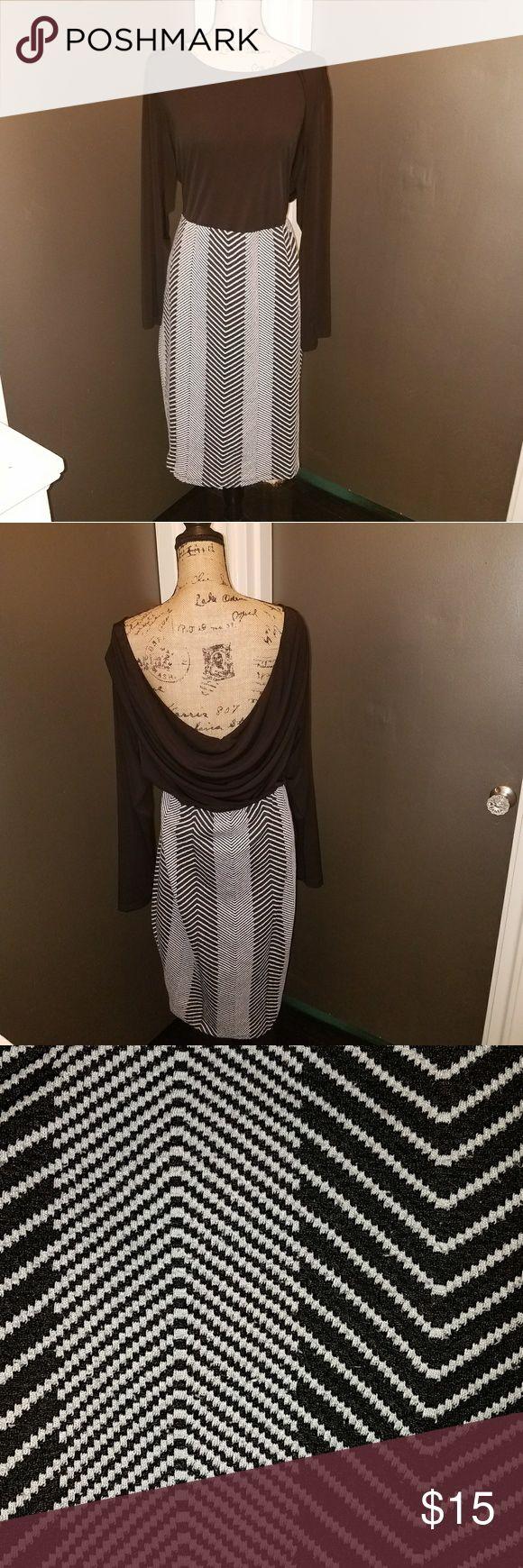 Chevron print dress Drape back Trixxi Dresses