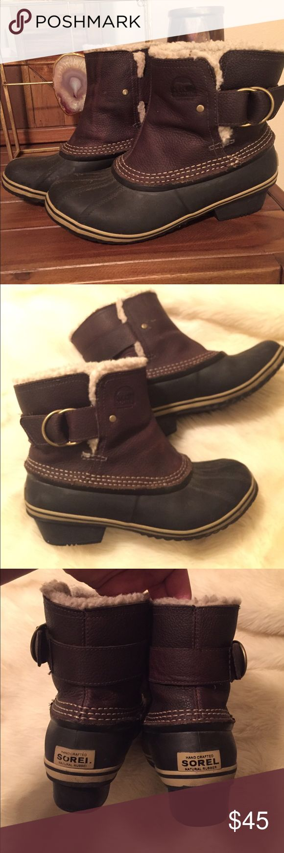 """Sorel winter boots """"Fancy"""" version of sorel winter boots with fir on the inside. Dark brown leather with black toe. These come just over the ankle in height. Really cute and commit, show normal signs of wear. Sorel Shoes Winter & Rain Boots"""