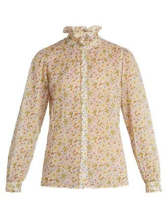 Floral-print cotton-voile top