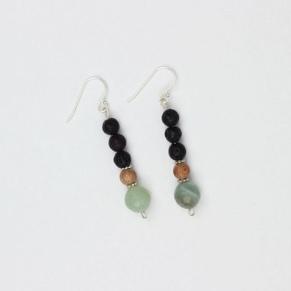 Affinity Earrings | Made with 3 lava stone beads to diffuse essential oils, rosewood and amazonite