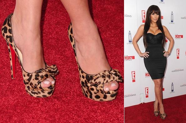 Kim Kardashian in leopard Christian Louboutin