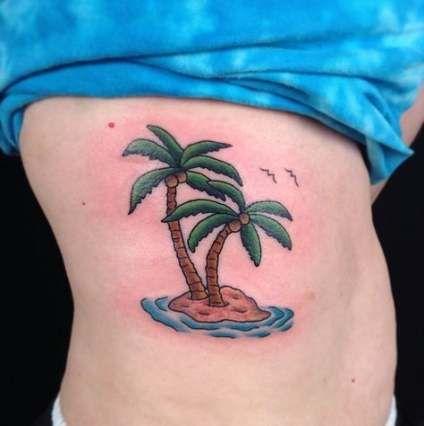 Super Beach Palm Tree Tattoo Flip Flops Ideas