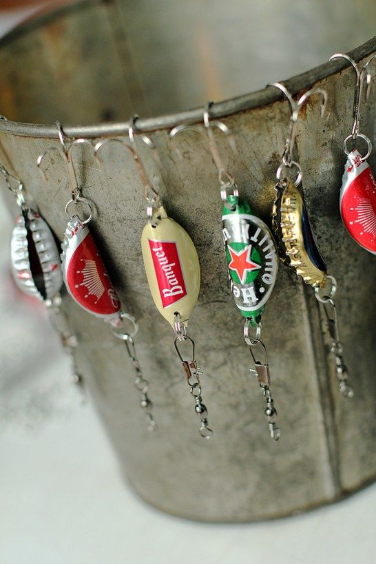 handmade christmas gifts for men, handmade fishing lure, bottle cap crafts, how to make a bottle cap fishing lure