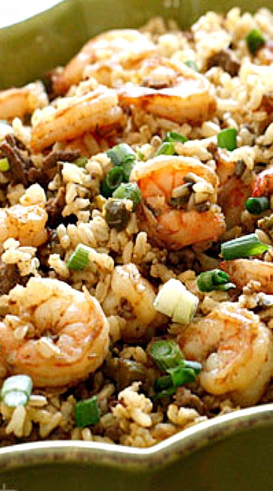 Dirty Brown Rice with Shrimp More
