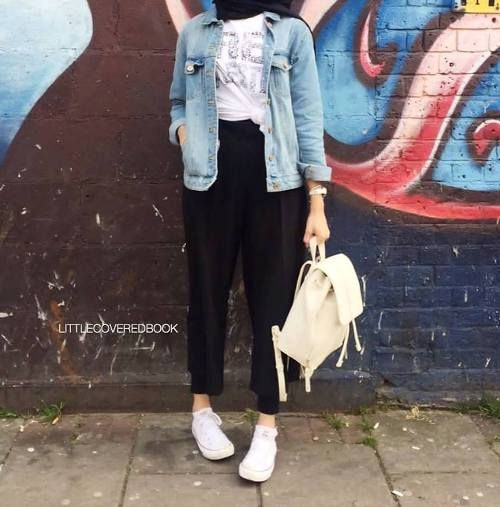 denim jacket hijab look-How to get hijab trendy looks – Just Trendy Girls