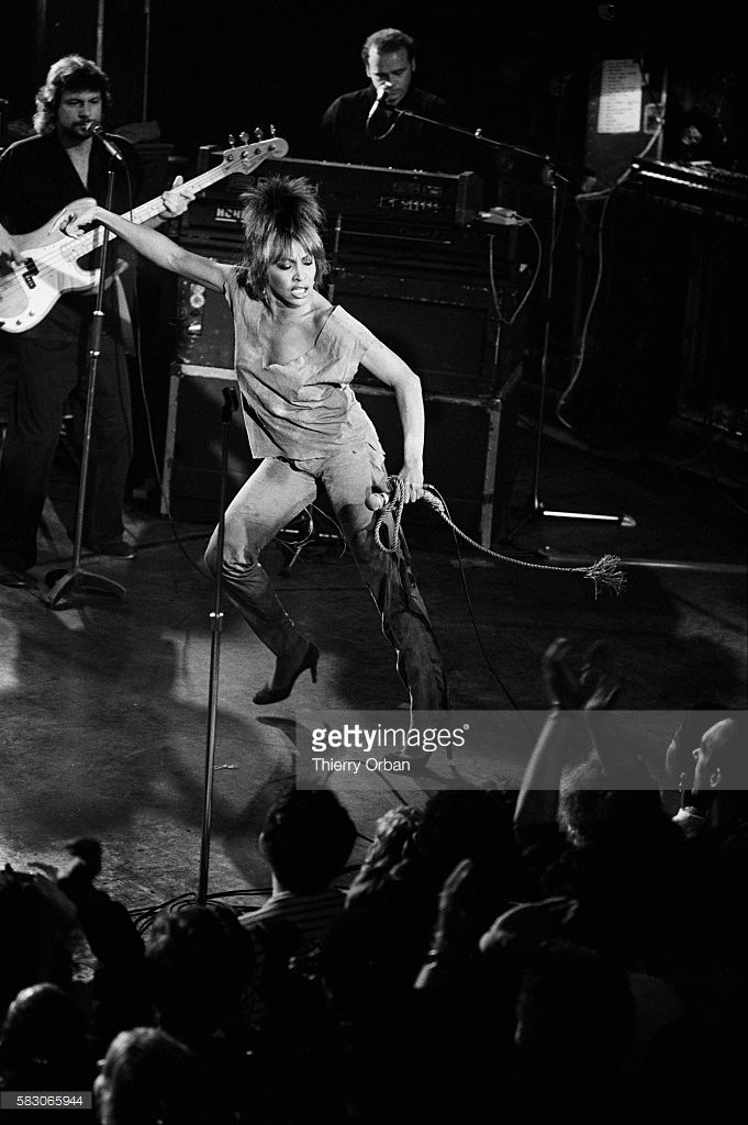 American singer Tina Turner dancing on stage during a performance at the Palais des Sports in Paris.
