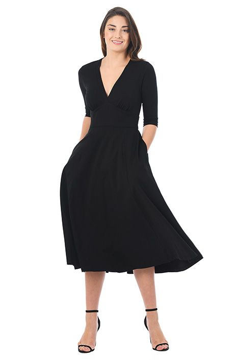 I <3 this Banded empire cotton knit dress from eShakti