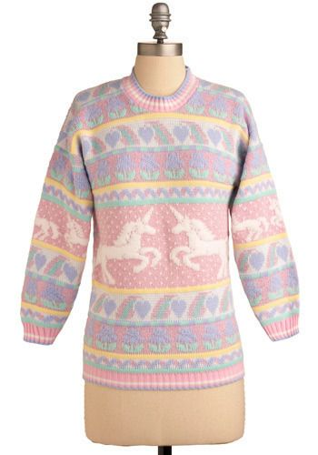 "Vintage ""Sparring For Sparkles"" pastel rainbow sweater with pink polka dots, white unicorns, and blue & purple heart accents from ModCloth. #ModCloth"