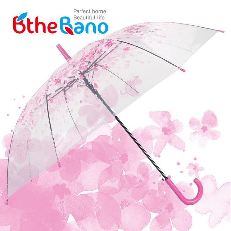 Новая мода прозрачный зонт сакура cherry blossom грибы apollo принцесса женщины дождь зонты длинной ручкой зонты купить на AliExpress