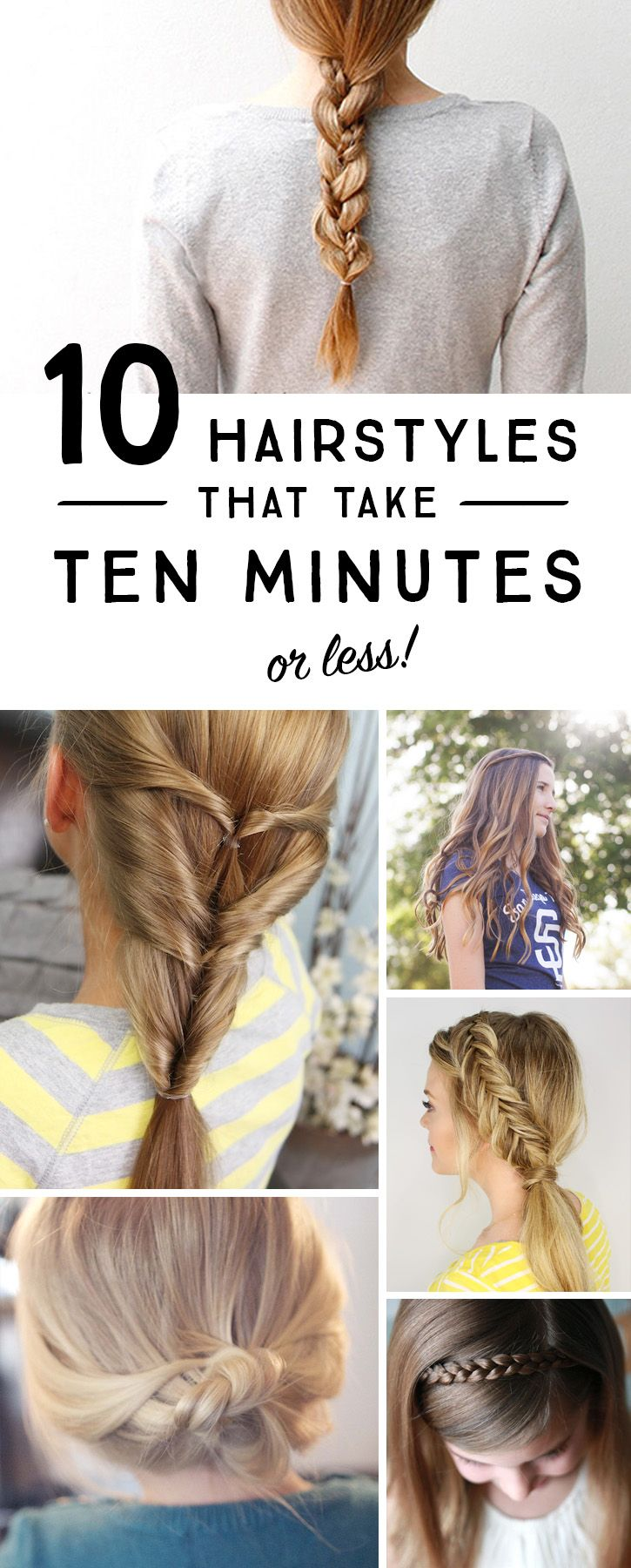 Streamline the morning hair routine with these 10 simple hairstyles that take 10 minutes or less! #spon