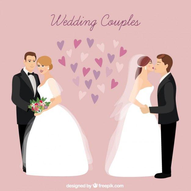 Свадебные пары в любви Бесплатные векторы