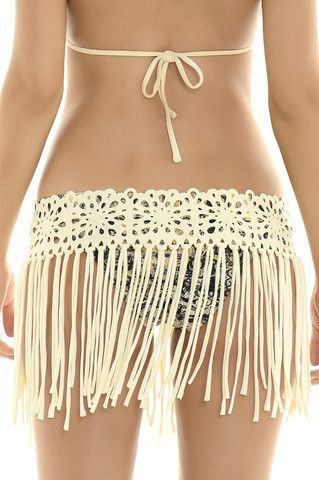 Midnight Lace Skirt This stunning ivory laser cut fringe skirt cover up. Can you…
