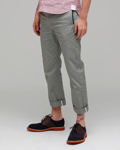 gray cotton chino, black half-welt side seam pocket, encase side seams with ribbon before felling the seam.