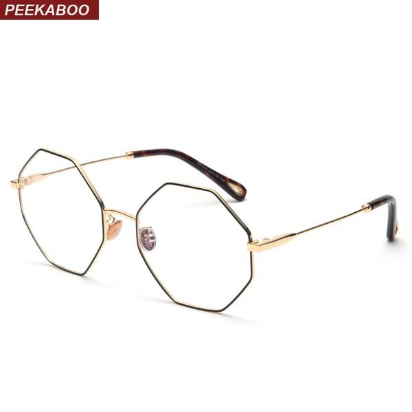 a2910fa746  FASHION  NEW Peekaboo optical eyeglasses frame women vintage 2018 gold  metal oversized octagon polygon glasses for computer protection men