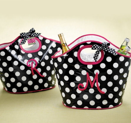 Cute Polka Dot Lunch Cooler Tote with Initial; #monograms #gifts for her