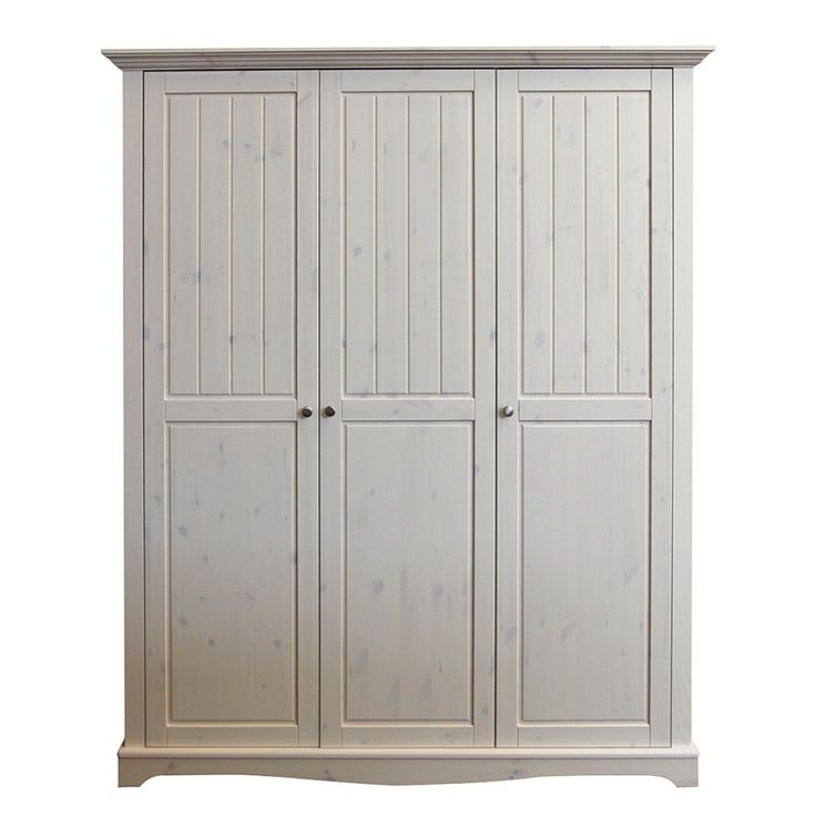 Elegant Kleiderschrank Karlotta t rig Kiefer massiv White Wash