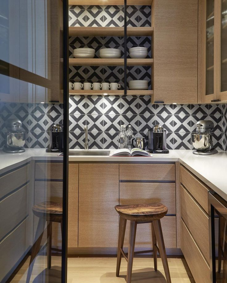 Splashback inspiration, grey and white geometric tiles - Found on Pinterest