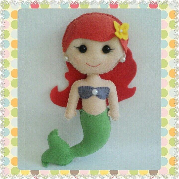#Princesa #disney #boneca #feltro #Ariel
