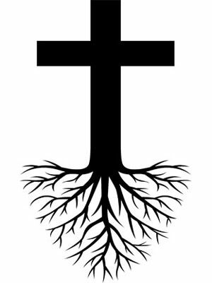 cross tree roots tattoo design