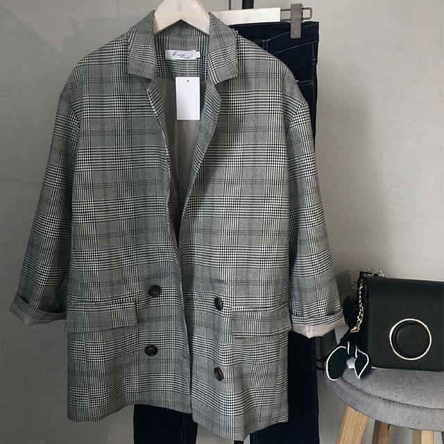 2017 новая мода женский плед пиджак пиджак серый винтаж двойной брестед повседневная outwears пальто с карманами