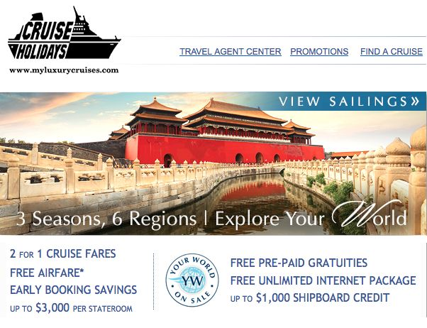 Enjoy 2 for 1 Cruise Fares, FREE Airfare, Early Booking Savings up to $3,000, FREE Pre-Paid Gratuities, FREE Unlimited Internet Package plus up to $1,000 Shipboard Credit per stateroom and 50% off deposits on Oceania Cruises  For questions about planning your cruise, please contact Offer ends March 31, 2014. #travel #cruise #holiday #vacation #promotion