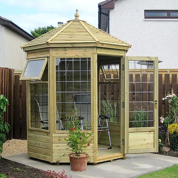 A very popular timber summerhouse. Attractively styled in an octagonal shape, this building can fit into any part of your garden. Available in sizes from 6' x 6' to 10' x 10'.