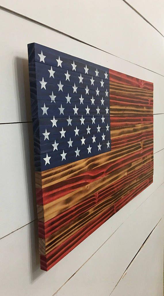 American Flag Wood American Flag – American Flag – Rustic Wood American Flag – Wooden American Flag – Distressed Flag – Wood Burnt Flag