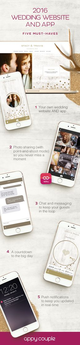 5 must-haves for every wedding website. Appy Couple has these (and more) plus a personalized app.