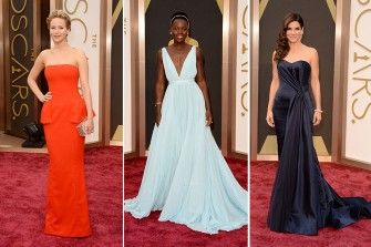 Nude, Nude und nochmals Nude! Der rote Teppich der Oscars wurde 2014 von zarten Abendkleidern geflutet – selbst von Schwarz-Liebhaberin Angelina Jolie. Jennifer Lawrence tanzte in einer feuerroten Robe aus der Reihe. Wir zeigen die schönsten Kleider der Oscar-Nacht!