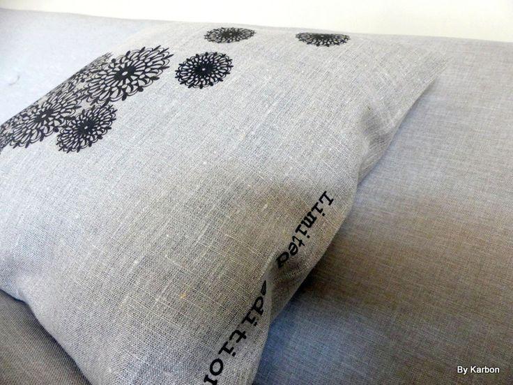 Housse de coussin 40x40 en lin, motifs dentelle : Textiles et tapis par by-karbon
