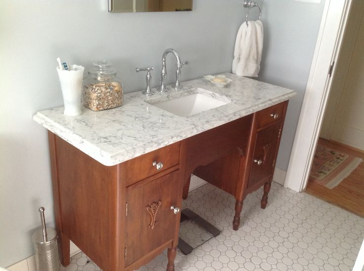 repurposed desk as bathroom vanity bungalow bath