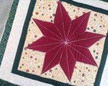 Cuscino patchwork di trapuntato Natale pillow - cuscino trapuntato copertura - cuscino decorativo Natale - rosso stelle cuscino-