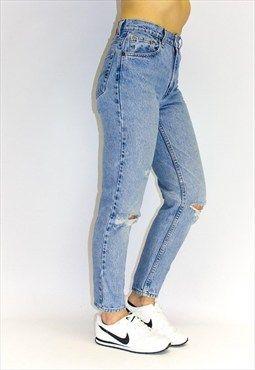 Vintage Distressed Tapered Leg Jeans