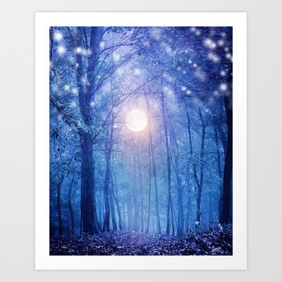 Seems christmas but is not. by Viviana Gonzalez. #blue #art #trees #forest $19.95