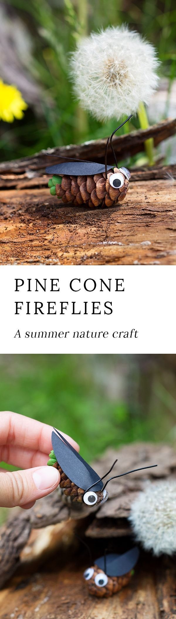 Pine Cone Fireflies: A Summer Nature Craft for Kids via @https://www.pinterest.com/fireflymudpie/