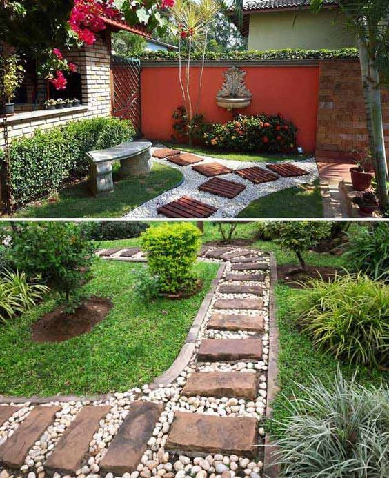 #7. Top a white gravel path with wooden pallets or square cut stones. Lay a Stepping Stones and Path Combo to Update Your Landscape