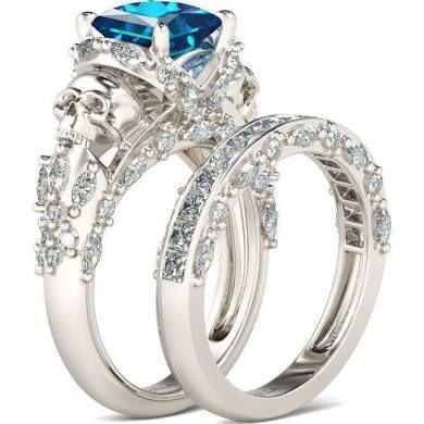 jeulia princess cut aquamarine skull wedding ring set for women - Skull Wedding Rings