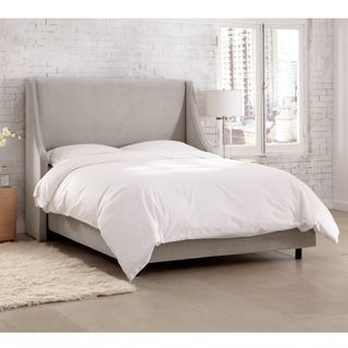 Shop For Skyline Furniture Velvet Light Grey Swoop Arm Wingback Bed. Get Free  Shipping At. Furniture OutletOnline ...