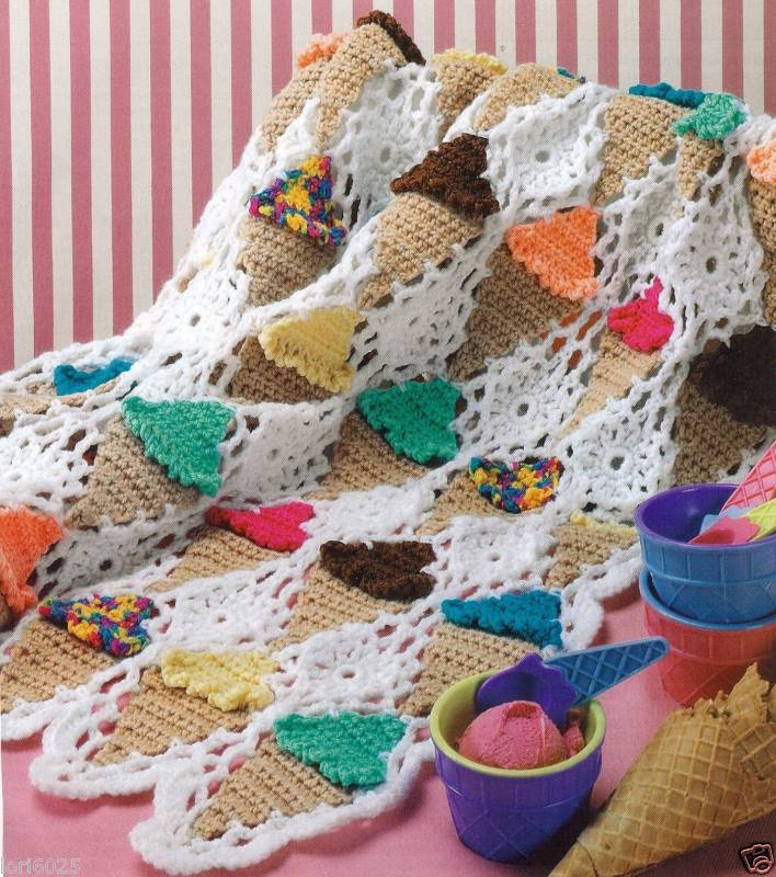 Ice Cream Cone Afghan Pattern Crocheted Blankets