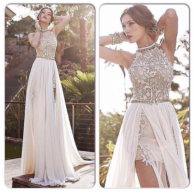 Beautifully unique wedding dress.