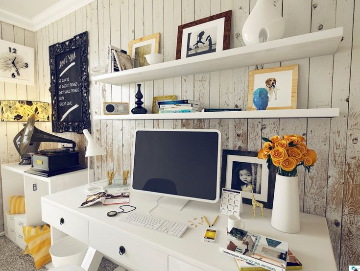 Superb Get Spirit Working With These Home Office Designs : Shabby Chic Home Office  Design With Vintage Home Design Ideas