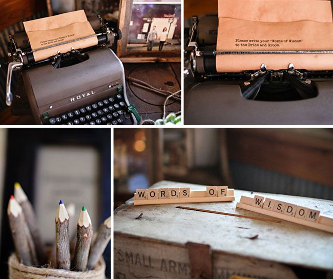 old typewriter, scrabble letters...what's not to love