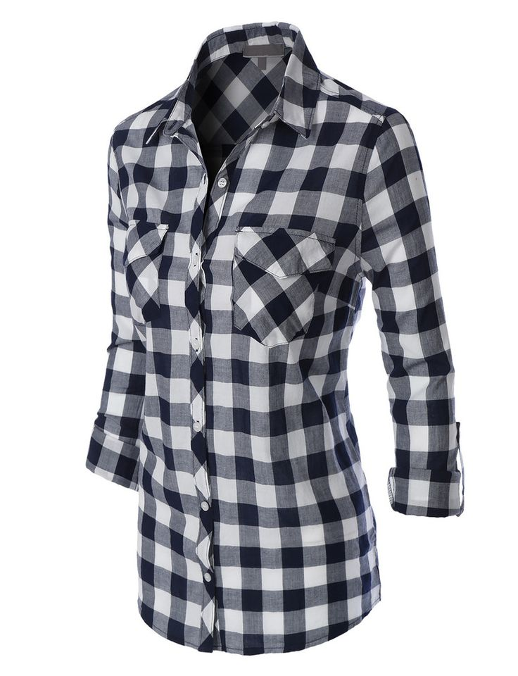 LE3NO Womens Lightweight Plaid Button Down Shirt with Pockets - 77 Best WOMEN'S PLAID SHIRTS Images On Pinterest Plaid Shirts