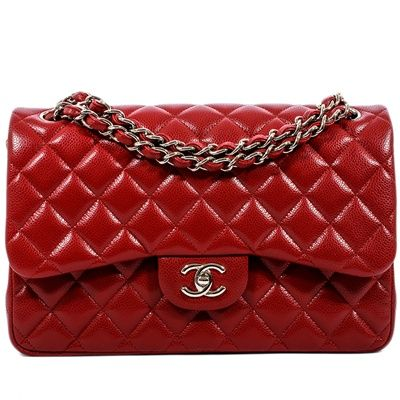 Chanel Red Rouge Quilted Caviar Leather Jumbo Classic 2.55 Double Flap Bag 12A