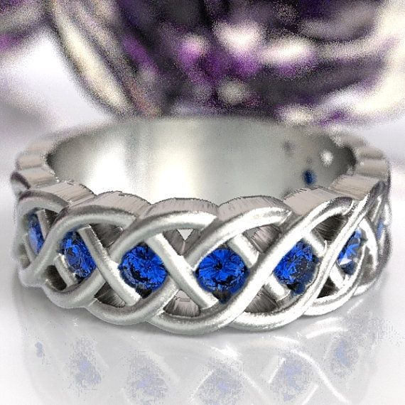 Celtic Wedding Ring with Blue Sapphire Stones in by CelticEternity