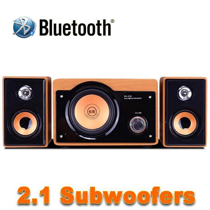 2016 New 5 Inch Wood Wireless Bluetooth HiFi Speakers desktop audio computer speaker multimedia mini speaker usb 2.1 subwoofer