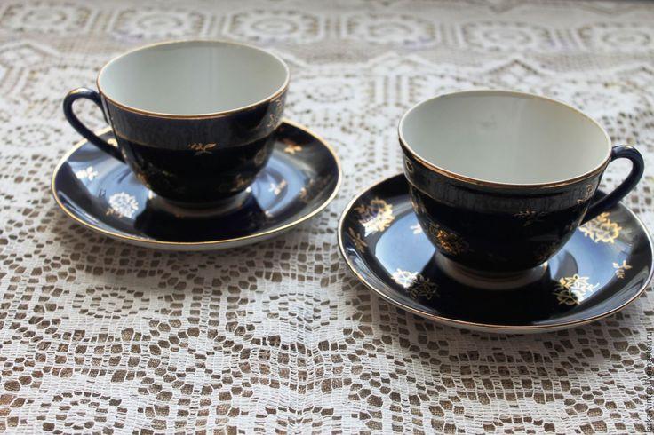 Купить Чайные пары ЛФЗ 1970 - е годы - тёмно-синий, чайная пара