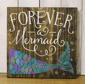 forever a mermaidbathroom signpool signocean signnavy bluewood sign mermaidgirls roommermaid decormermaid - Mermaid Home Decor