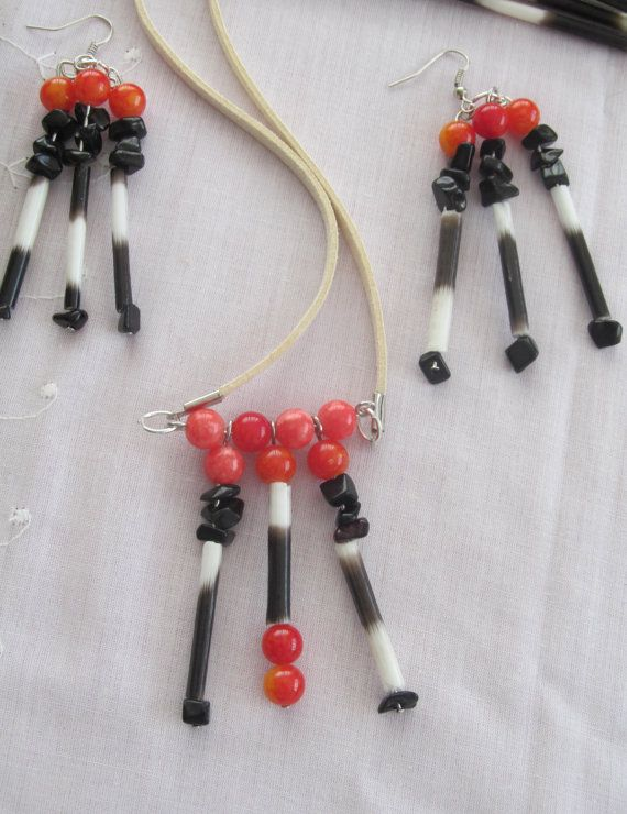Porcupine  necklace and earrings set, ethically obtained spikes, hollowed and sterilized, make beautiful and classic jewelry.