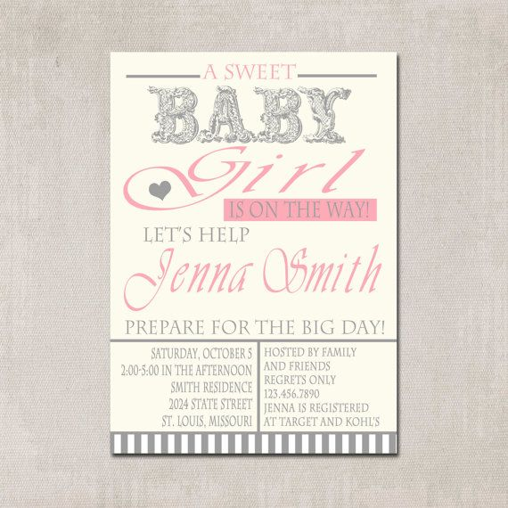 Baby girl Shower Invitation love these colors for my baby girl! So settle and sweet